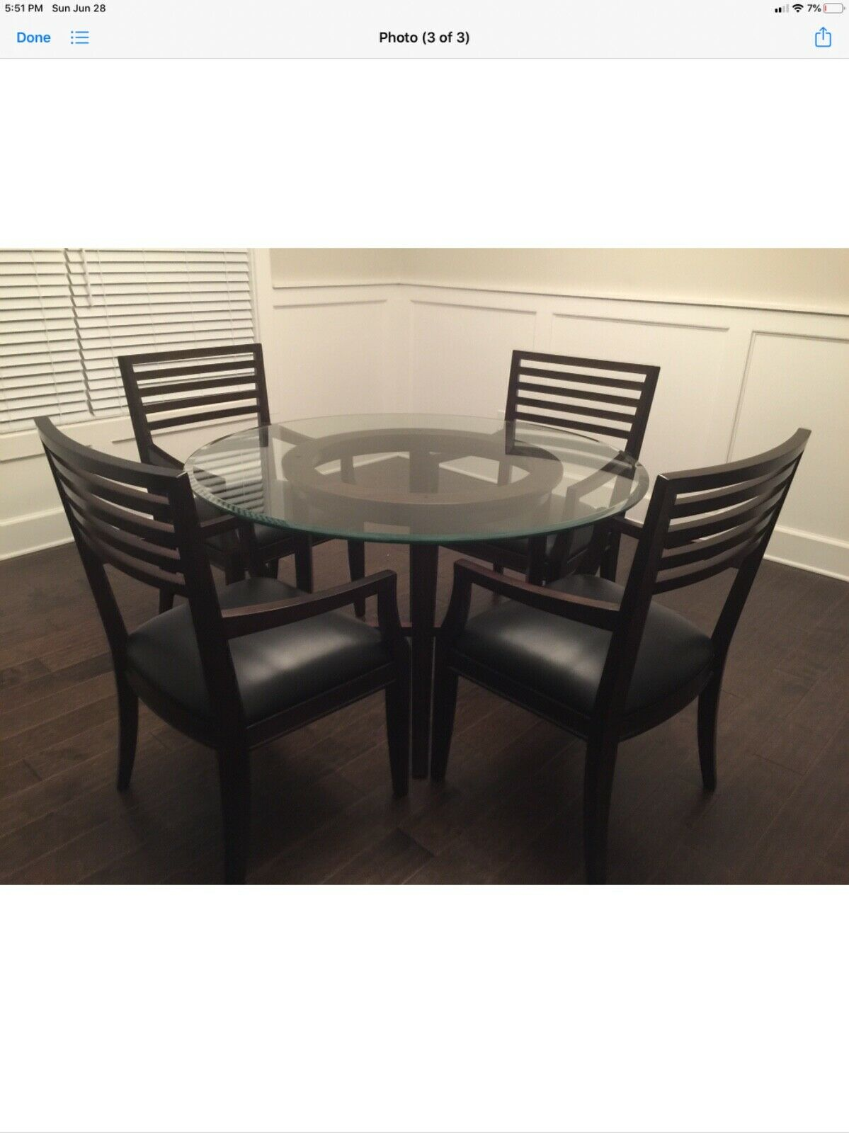 Beautiful Dining Set W Round Glass Table Top On Wood Base 4 Matching Chairs For Sale Online