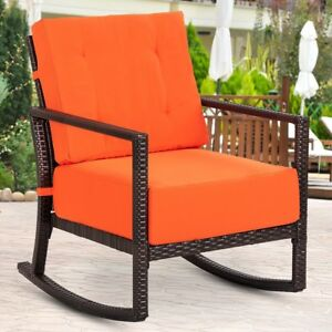 rattan wicker rocking chair cushion large leather home garden porch deck rocker with image is loading