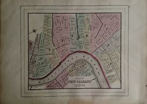 This map shows where new orleans is located on the u.s. Explosive New Product Map Plan Of New Orleans 1882 Hand Colored Map Wm M Bradley Store In Usa Asbm Com Br
