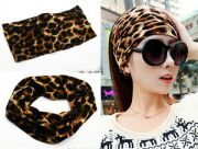 "5"" wide yoga headband leopard print"