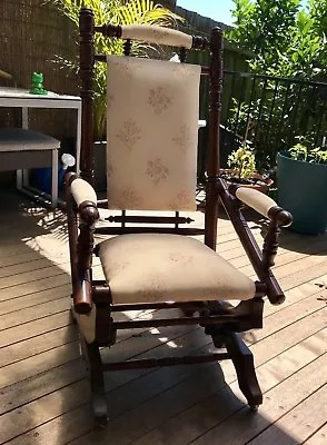 antique platform rocking chair with springs order office dexter mahogany rocker antiques