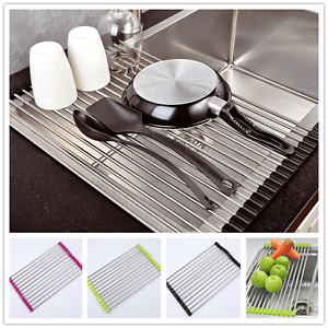 kitchen drying rack inexpensive table sets over the sink dish drainer roll up foldinng image is loading
