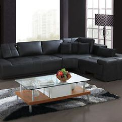 Black Leather Sofa Trent Queen Sleeper Franco Collection Modern L Shaped Couch Or White Image Is Loading