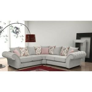 NEW LARGE LUNA ROMA 32 SUITE or CORNER SOFA SILVER FABRIC