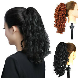 natural colors womens long wavy curly claw drawstring ponytail hair extensions ebay
