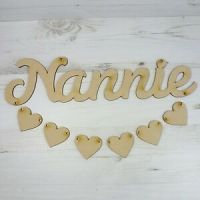Hanging HEART plaque NANNIE word wood wall art MDF Wooden ...