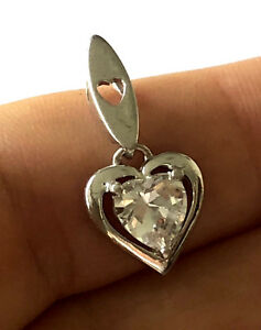 Dl 925 : Sterling, Silver, Classy, Heart, Ladies, Pendant, Clear, Stone
