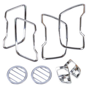 8Pcs Chrome Steering Wheel+Air Vent Cover Trim Kit For