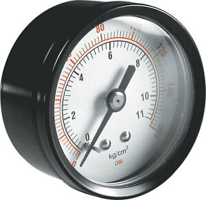 Air Pressure Gauges 40mm Diameter 1/8 Bsp Centre Connection ABS and Brass