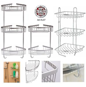 Rust Free Stainless Steel Corner Shower Caddy Bathroom Shelf Organizer 2 3 Tier