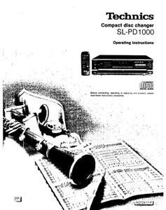 Technics SL-PD1000 CD Changer Owners Instruction Manual