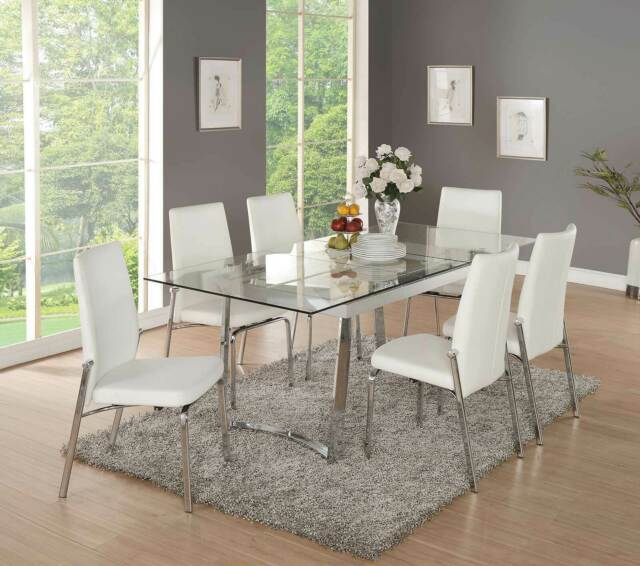 New Contemporary 7 Piece Dining Room Set Glass Top Rect Table White Chairs Cbp For Sale Online