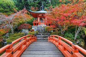 details sur superbe zen japonais jardin paysage toile 363 japon automne jardin pont afficher le titre d origine