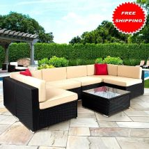 Set 7 -pcs Outdoor Beautiful Sofa Wicker Sectional Garden