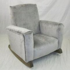 Kids Upholstered Rocking Chair Fishing Table New Children S Gray Toddle Rock For Kid Ebay Image Is Loading 039