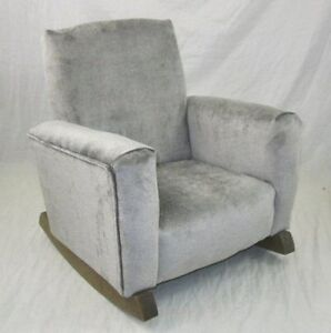 kids upholstered rocking chair dining chairs johannesburg new children s gray toddle rock for kid ebay image is loading 039