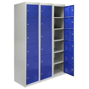 details sur 3 x casier rangement metal acier 6 portes bleu salle de sport verrouillable