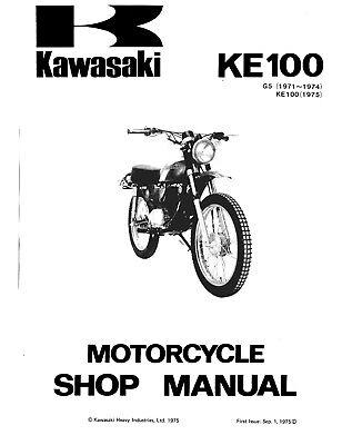 1971 to 1975 Kawasaki 100cc Dirt Bike KE100 Shop Repair