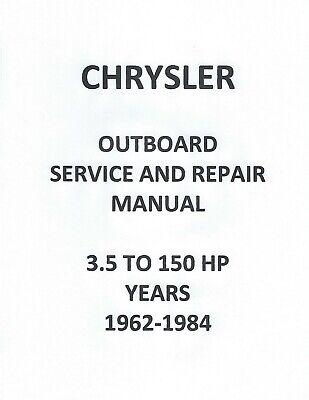 CHRYSLER OB MOTOR SERVICE/REPAIR MANUAL for 3.5-150HP 1962
