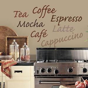 COFFEE WALL DECAL Vinyl Sticker KITCHEN WORDS Wall Décor Coffee Tea