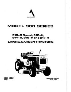 Allis Chalmers 900 Lawn Tractor 910-6 912-H 914-S 916-H