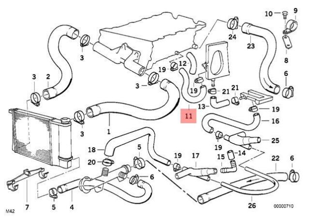 Genuine Engine Thermostat Water Hose BMW E30 318i 318is