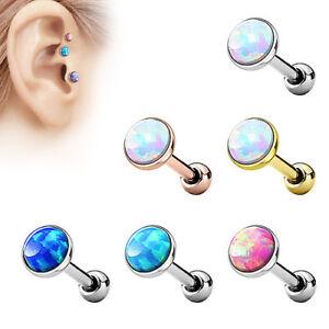 Tragus Cartilage Helix Ohr Universal Piercing Stecker mit flachen Opal Stein