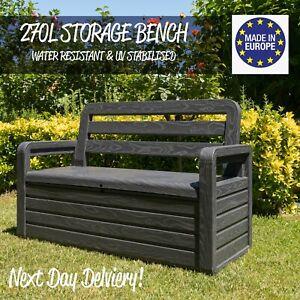 details sur exterieur interieur rangement boite banc siege 270l jardin coffre meuble