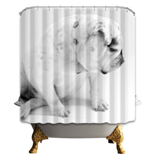 72 pet bulldog shower curtain bathroom waterproof polyester fabric doormat set home garden bathroom supplies accessories