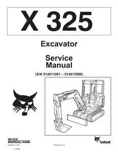 New Bobcat X 325 Excavator Updated 1995 Edition Repair
