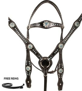 USED WESTERN SHOW HEADSTALL REINS BREAST COLLAR TRAIL