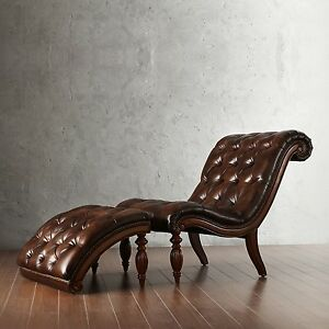 tufted chair and ottoman straight back chairs leather chaise lounge bonded brown cherry bed image is loading