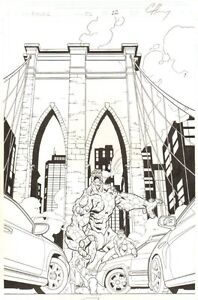 Exiles #35 p.22 - Brooklyn Bridge Splash - 2003 art by Mike McKone