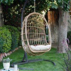 Patio Hanging Egg Chair Koala Sewing Big With Stand And Cushion Wicker Hammock Porch Image Is Loading