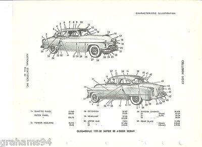 1951 52 Oldsmobile Super 88 Four Door Body Parts NOS Part