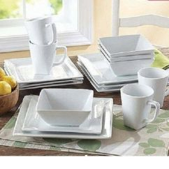 Kitchen Plates Building Cabinet Doors Dinnerware Set 16piece Square White Porcelain Dishes Service Mugs Ebay