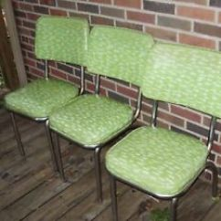 Chrome Kitchen Chairs Knife Sets Lot Of 3 Vintage Mcm Atomic Vinyl Douglas Image Is Loading Amp