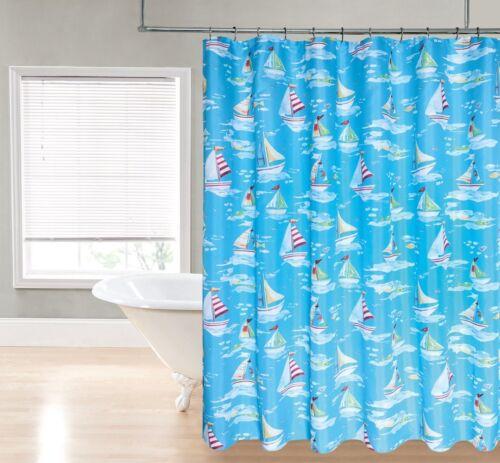 badzubehor textilien aqua blue sailboats ship nautical ocean beach fabric shower curtain canadiana cz