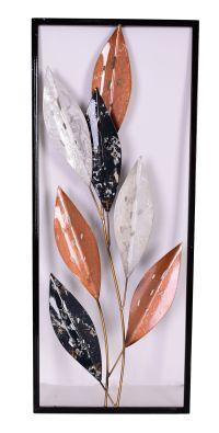 Black Copper Leaves Metal Wall Art 61cm Hanging Sculpture ...