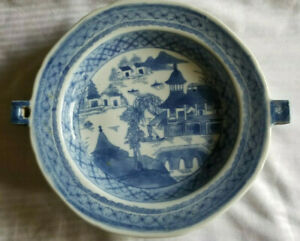 CHINESE PORCELAIN CANTON BLUE AND WHITE WARMING PLATE