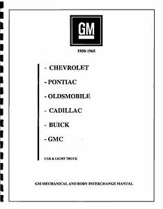 CHEV CORVETTE PART INTERCHANGE MANUAL 53 54 55 56 57 58 59