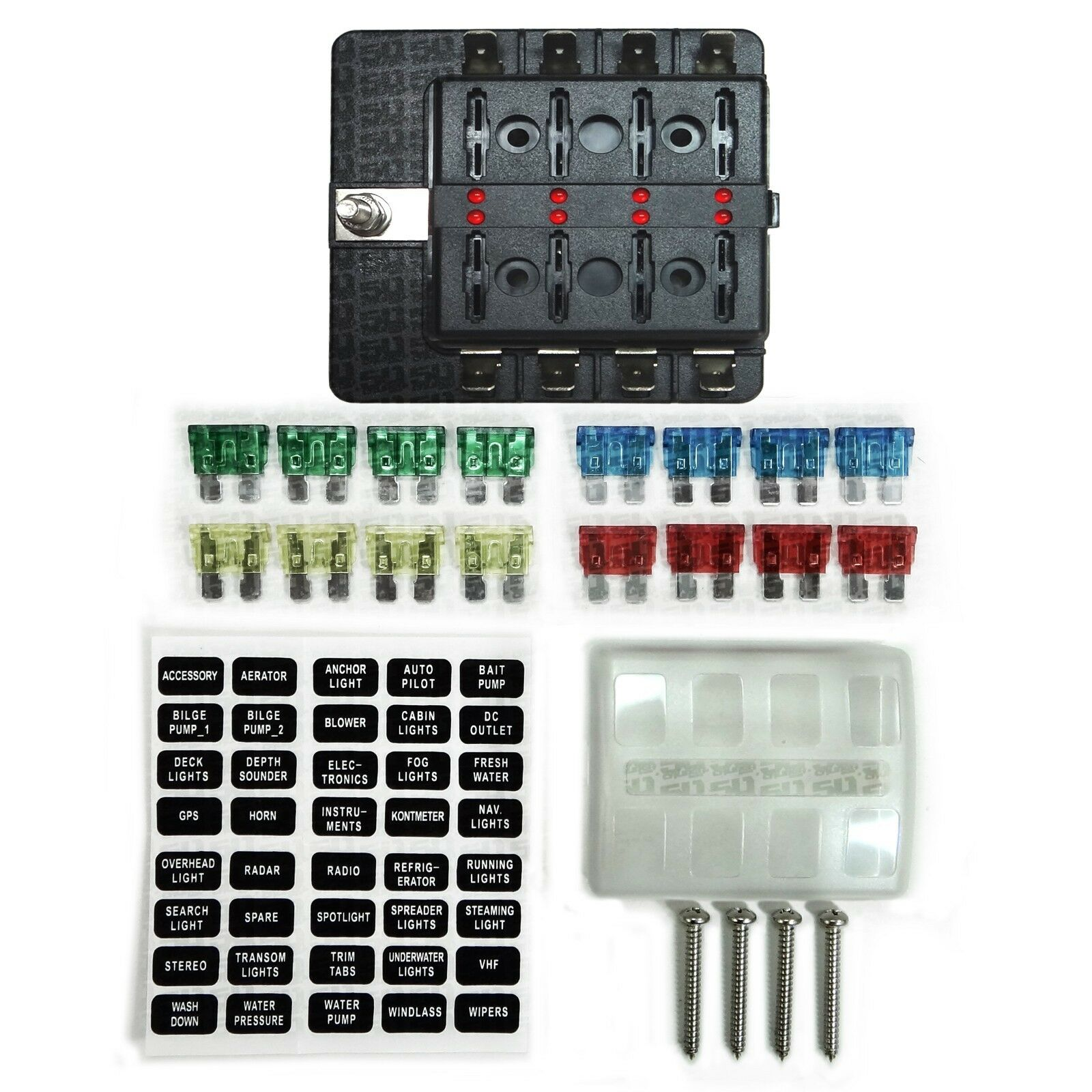 hight resolution of 8 way 12v blade fuse box distribution block with leds semi truck rv8 way 12v blade