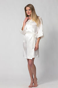 Womens wedding bridal short white robeRoyal Festival Silk Charmeuse  eBay
