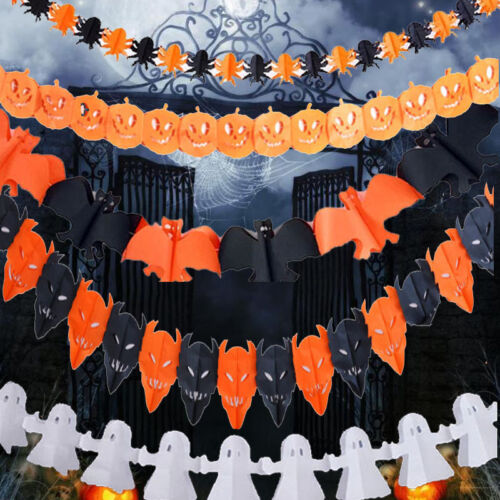 Scary-Garland-Pumpkin-Spider-Hanging-Ghost-Paper-Halloween-Haunted-House-Decor