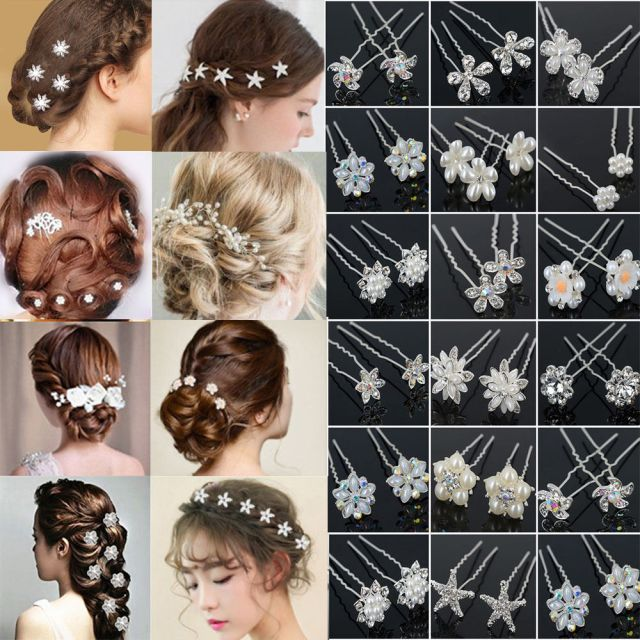 pearl flower crystal hair pins clips bridesmaid side comb wedding bridal jewelry