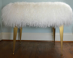 Mongolian Lamb Fur Stool Tibet Gold Legs Footstool Bench