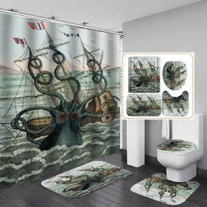 details about sea octopus shower curtain bath mat toilet cover rug kraken bathroom decor