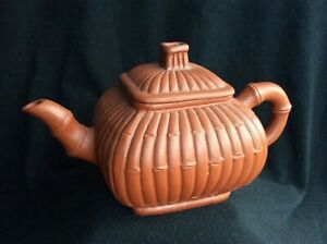 CHINESE YIXING ZISHA CLAY TEAPOT From An Old Estate Collection BAMBOO FORM