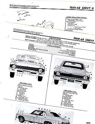 1968 1969 CHEVY II NOVA 68 69 BODY PARTS FRAME MOTOR'S