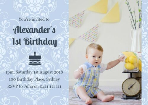 celebrations occasions printable personalised photo boy s birthday christening damask invitation home furniture diy itkart org